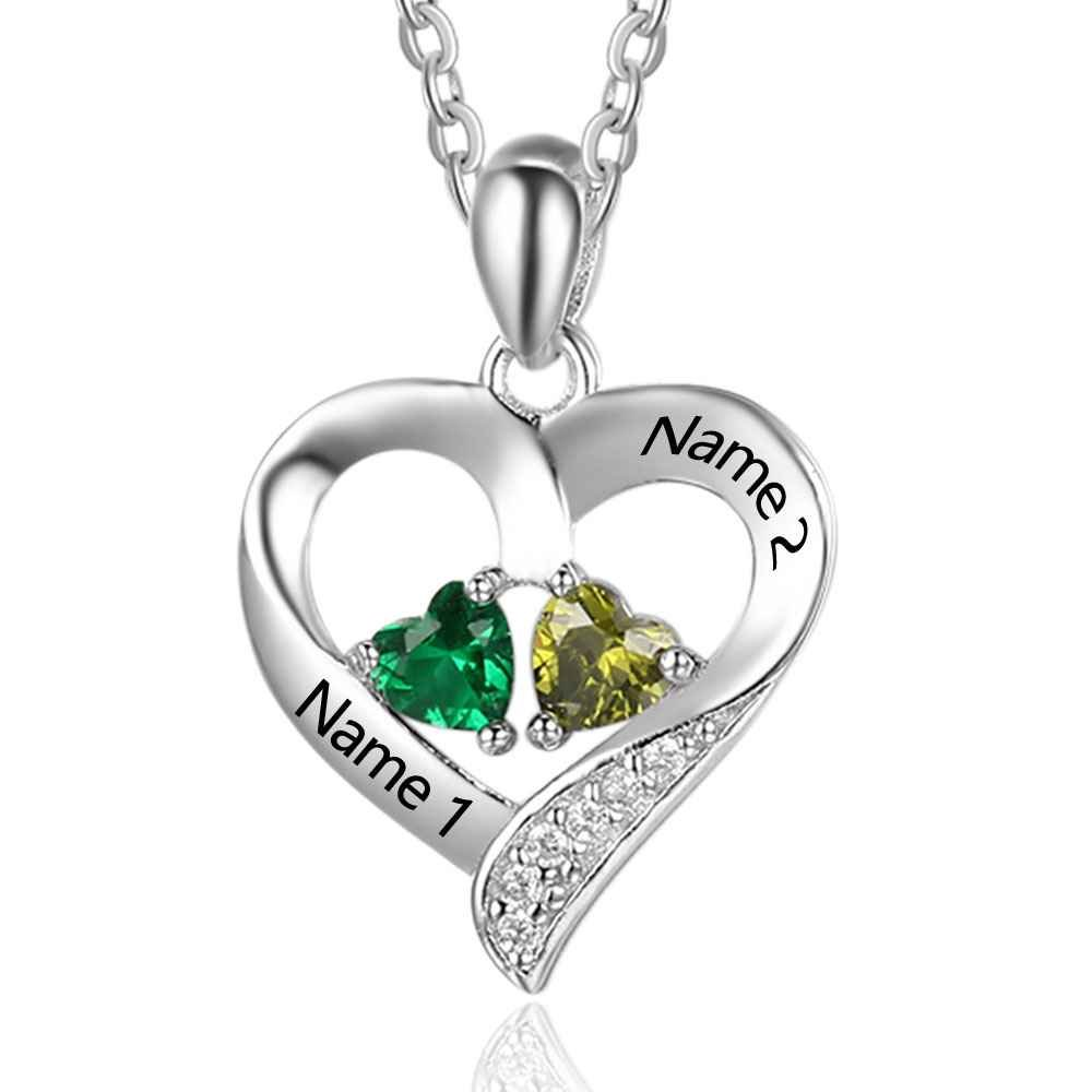 Love Jewelry Personalized 2 Names Necklace 2 Heart Simulated Birthstone Couple Pendant Necklace Women (Silver)