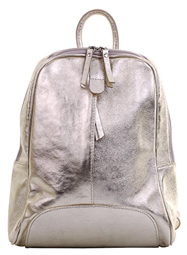 Italian Backpack Ladies Branded Protective Shoulder Leather Sacchi® Grab Metallic Bag Textured Storage Incudes Bag Gold Primo Handbag Rucksac qXE5n