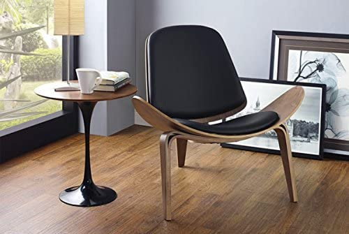 Limari Home Drake Collection Modern Veneered Walnut Finished Upholstered Curved Lounge Chair