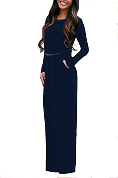 yulinge Las Mujeres Vestido De Fiesta Skater Maxi Vestidos Manga Larga con Cinturon Azul S