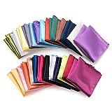 Farmunion Mens Pocket Square Handkerchief For Wedding Party, Solid Colors (26 Pieces)