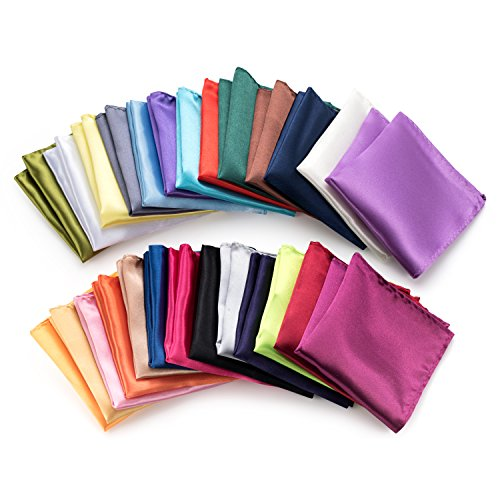 Farmunion Mens Satin Polyester Handkerchief, Plain Solid Colors (26 Pieces)