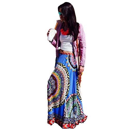 Kinghard Women's Bohemian Style Printing National Wind Big Swing Skirts (Blue) (Sexy Mexican Woman)