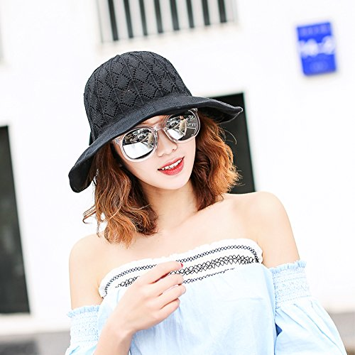 (GAOQIANGFENG Womens UPF 50+Fashion bow Beach Hat summer sunscreen sunshade SUNCAP sun hat holiday tour cap woman,F,black)