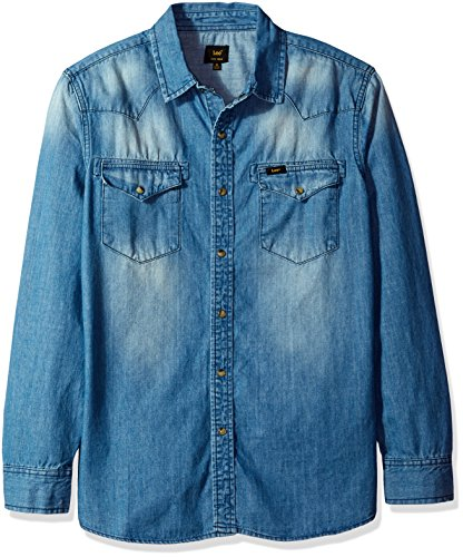 lee-mens-heritage-western-long-sleeve-denim-shirt-dark-wash-large