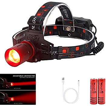 WindFire New Brightest Hunting Headlamp Zoomable Red CREE