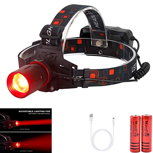 WindFire New Brightest Hunting Headlamp Zoomable Red CREE XML-T6 LED Night Hunting Light Waterproof Rechargeable Headlight for Coyote Hog Varmint Predator Hunting, Astronomy, Aviation with Batteries (Best Headlamp For Hunting)