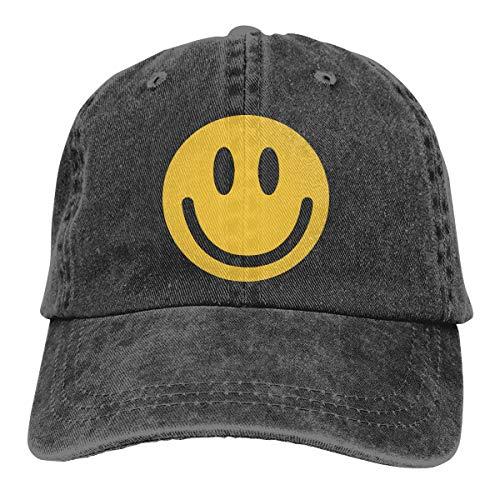 Adult Fashion Cotton Denim Baseball Cap Smiley Face Classic Dad Hat Adjustable Plain Cap -