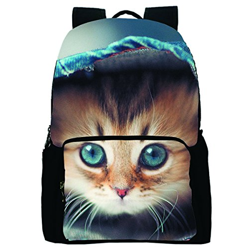 Datomarry Funny Cat Printed Personalized Denim Book Bag Casual Backpack Daypack for School ()
