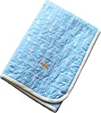 EMOOR Matryoshka Quilted Cotton Gauze Mattress Pad - Full Size (Blue). Made in Japan