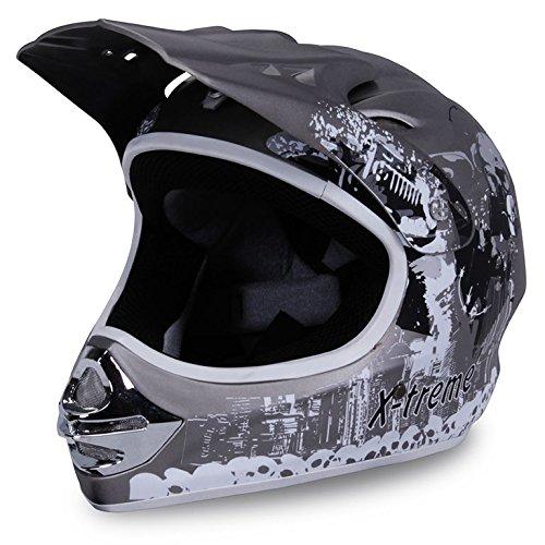 Motorradhelm X-treme Kinder Cross Helme Sturzhelm Schutzhelm Helm für Motorrad Kinderquad und Crossbike Modell Design 2015 in dunkel grau Matt (Small)