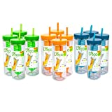 Fruit Infuser Water Bottle with Straw - 20 oz - BPA Free (Multi-Pack of 12)