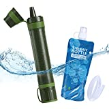 Hiking Water Filter Water Purifier Camping, Metal Removed Axmda Emergency Personal Hiking Water Filter Straw with 0.03 Micron 3 Stage Filtration, Emergency Preparedness Kits for Travel & Backpacking