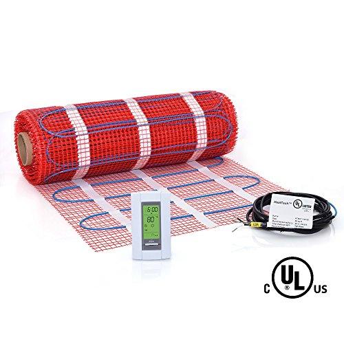 60 sqft Mat Kit, 120V Electric Radiant Floor Heat Heating System w/ Aube Programmable Floor Sensing Thermostat (60 Floor)