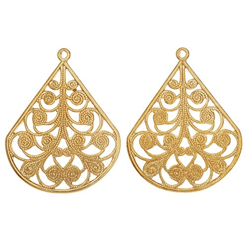 Vintaj Vogue Pendants, Filigree Flourished Fan 28.5x22mm, 2 Pieces, Raw ()