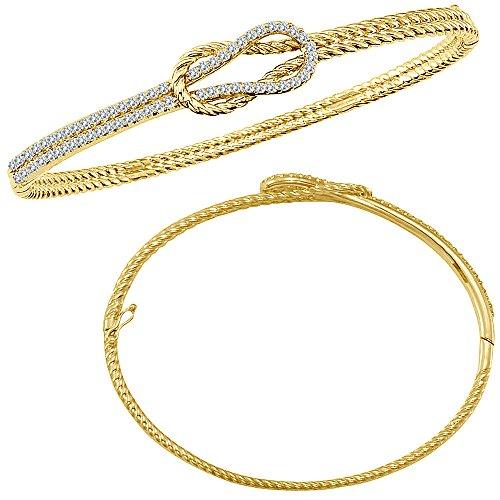 0.65 Carat White Diamond Beautiful Designer Fancy Love Knot Bridal Bangle Bracelet 14K Yellow Gold