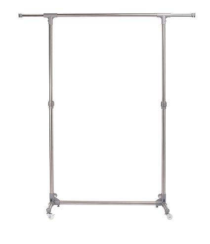finnhomy rodillo ajustable de acero inoxidable ropa rack, único ferrocarril Rolling ropa Rack, extensible