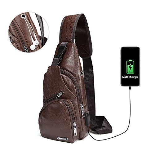 Sling Bag, CHARMIENR Men Shoulder Chest Backpacks Fashion Crossbody Bag Rucksack Outdoor Hiking Travel Multipurpose Daypacks with USB Charging Port Deep Brown M