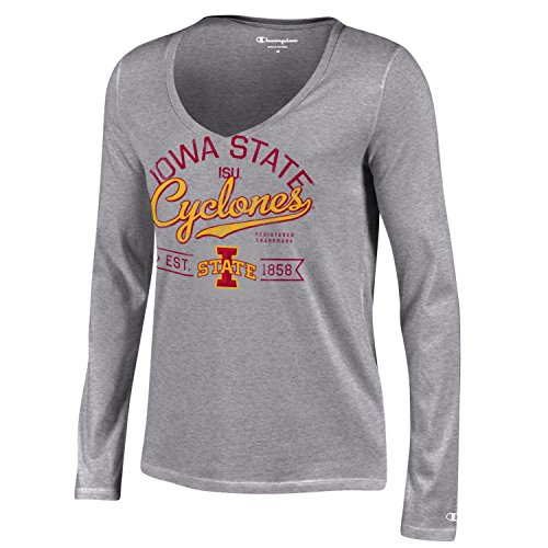Champion NCAA Iowa State Cyclones Women's University Long sleeve V-Neck T-Shirt, Large, Gray