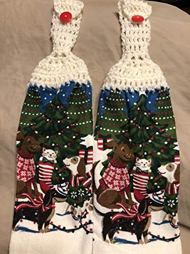 (Free shipping to USA included in price - 2 CROCHET KITCHEN hand TOWEL LIGHT terry cloth Christmas Dog theme Cat in Stocking - Soft White acrylic yarn top - smoke free - pet free)