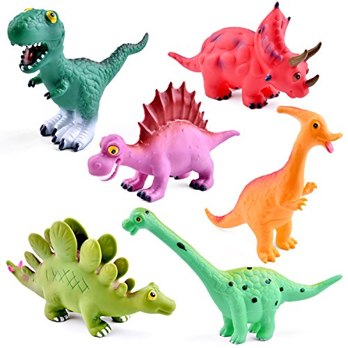 9'' to 12'' Dinosaur Baby Bath Toys, 6 Pack Dinosaur Figures Playset, Water Squirt Toys, Perfect as Bathtub Toys, Dinosaur Party Supplies, Party Favors, Toddler Gifts by FUN LITTLE TOYS