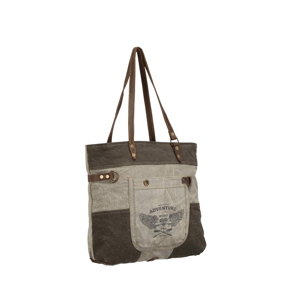 4b3ce7028e5 Myra Bags Adventure Begins Upcycled Canvas & Denim Tote Bag S-0897