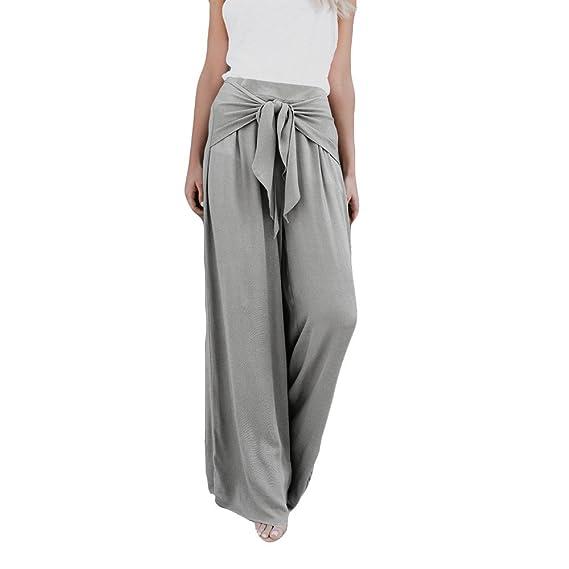 Leoy88 Women Fashion Casual Loose High Waist Wide Leg Bell