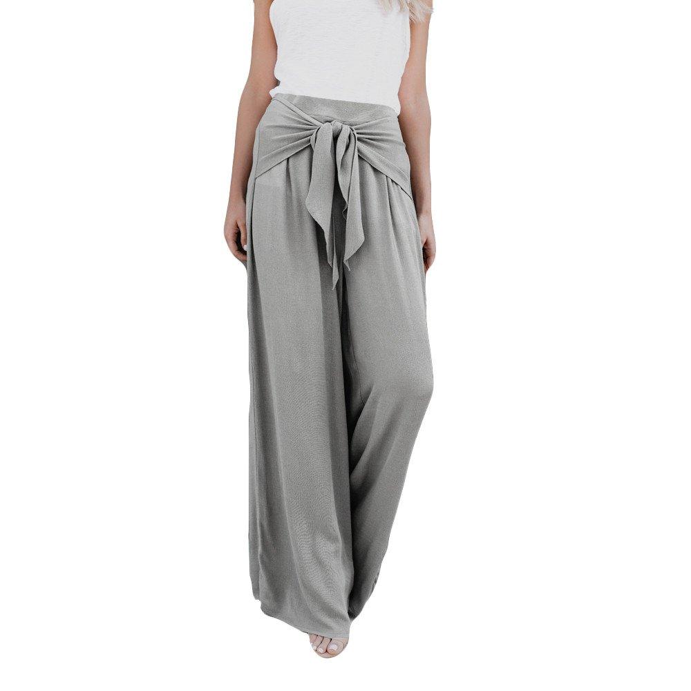 Baigoods Women Fashion Casual Loose High Waist Wide Tie Bow Leg Bell Bottom Palazzo Flare Yoga Pants