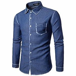 Mens Denim Shirt, Among Casual Long Sleeve T-Shirt Business Slim Fit Blouse Fashion Turndown Collar Cowboy Tops Jacket (XXL, Deep Blue)