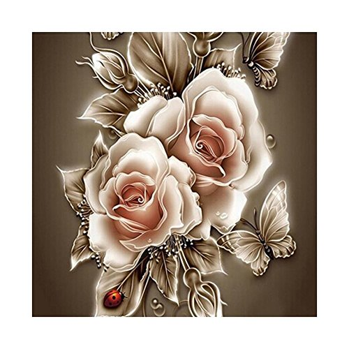 VKTECH Retro Rose Flower 5D Diamond Painting Embroidery DIY Paint-By-Diamond Kit Home Wall Decor 14 x 14 Inch