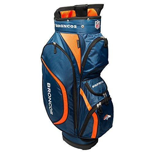 - Team Golf NFL Denver Broncos Clubhouse Golf Cart Bag, Lightweight, 8-Way Top with Integrated Handle, 6 Zippered Pockets, Padded Strap, Towel Ring, Umbrella Holder & Removable Rain Hood