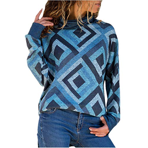 XOWRTE Women's Casual Geometric Turtleneck Fall Long Sleeve Pullovers Sweater Blouse Tops -