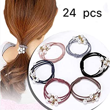 24Pcs//pack Women Elastic Ponytail Holder Rope Hair Tie Ring Hairband Band GIFT