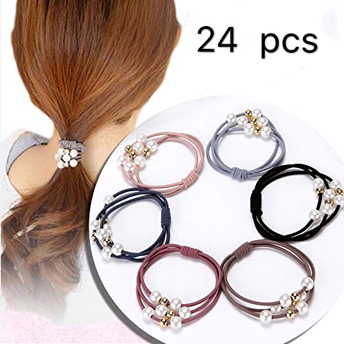 Hair Scrunchies,Hair Ties. 24 Pieces Of Three-in-one Pearl Bottoming Rubber Band Hair Band. High-Elastic, Thick, Non-slip, Loss-proof Hair Ring Hair Band Set