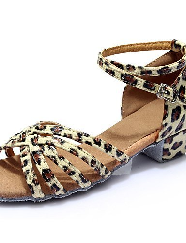 de niños Zapatos ShangYi Samba Satén para artificial más plano latino Cuero Salón Dorado niños Sandalias para clore de baile baile Tacón Salsa femeninas nF4zWP