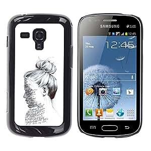iKiki Tech / Estuche rígido - Text Pencil Sketch Woman Read - Samsung Galaxy S Duos S7562