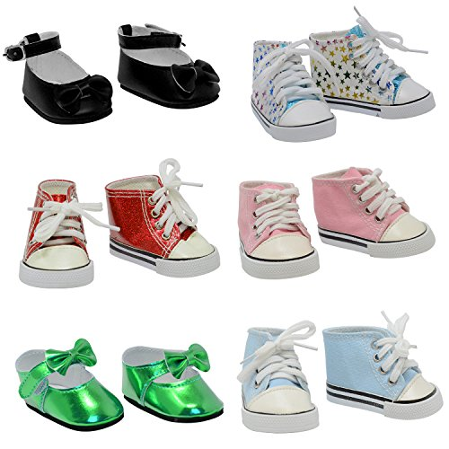 (The New York Doll Collection 6 Pairs of Doll Shoes Fits 18