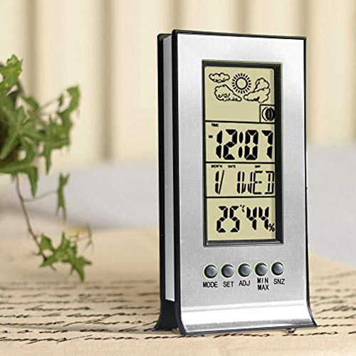 FAIYIWO Multi-Function Indoor Humidity Monitor Hygrometer Desk Digital Thermometer with LCD Display Calendar FAIYIWO Silver