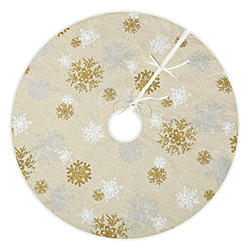 VGIA 48 inch Christmas Tree Skirt with Snowflake Pattern Christmas Decoration