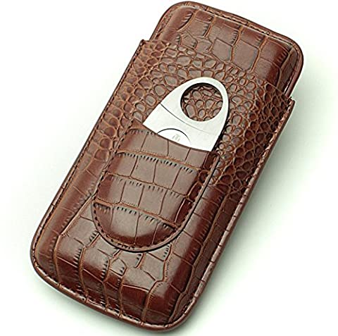 Cigar Case Travel - Cutter Included - Leather 3 Colors (Brown) - Personalized Cigar Case
