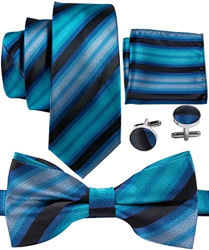 (Barry.Wang Men Tie Bowtie Set Stripe Teal Green with Handkerchief Cufflinks Silk)