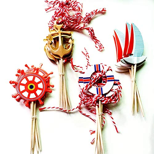 Cupcake Toppers - 24pcs navigation sailing yacht anchor sailor cupcake toppers picks ocean style kids birthday wedding decoration supplies ()