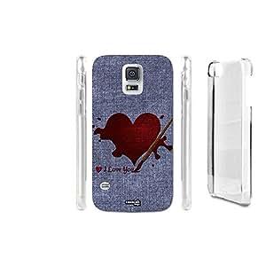 FUNDA CARCASA EFECTO JEANS CUORE LOVE YOU PARA SAMSUNG GALAXY S5 G900D LTE DUAL