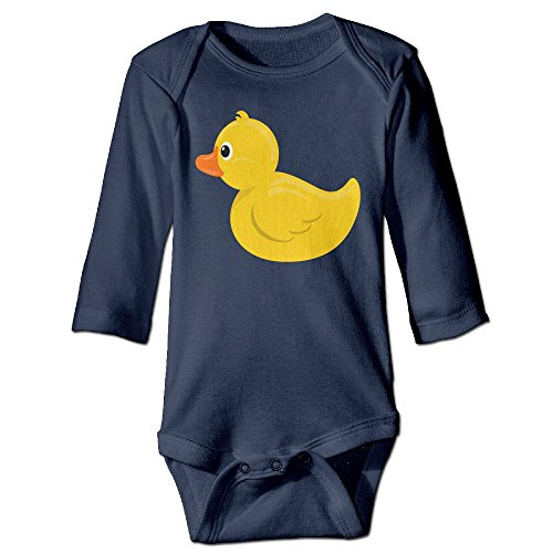 Lovely Little Yellow Duck Baby Long Sleeves Climbing Clothes Unisex Outfit Rompers Size 6 M Navy Beautiful
