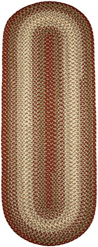 Super Area Rugs, Hartford Braided Indoor / Outdoor Rug Textured Durable Red Sunroom/Porch Carpet, 2' X 8' Oval Runner 2' Oval Area Rug