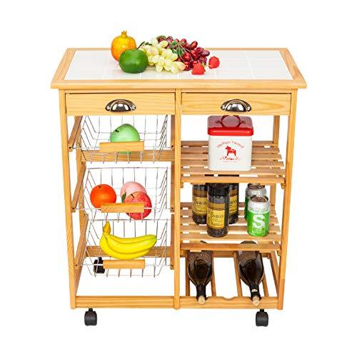 (Kitchen Cart Rolling Island Cart 4 tier Kitchen Cart Wood Trolley Rolling Kitchen Trolley Cart Island Shelf Stainless Steel Top Storage Shelves 2 Drawers 3 Baskets,Towel Rack, Locking Wheels (Wood))