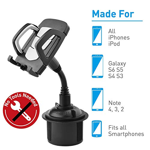[2019 New] UPSTONE Cup Holder Phone Mount Universal Adjustable Gooseneck Cup Holder Cradle Car Mount for Cell Phone iPhone Xs/XS/Max/X/8/7 Plus/Galaxy/Huawei(Gray)