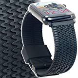 Apple Watch Band 42mm Large / XL TIRE TREAD Black Silicone Rubber iWatch Band 42mm with Space Black Adapters & Buckle for ALL 42 mm Apple Watch Series 2, Series 1 & Sport Models by CARTERJETT