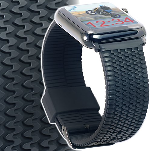 Apple Watch Band 42mm TIRE TREAD Rubber iWatch Band 42mm Med/ Large Soft Silicone Straps with Space Black Adapters and Buckle for New Apple Watch Series 3, 2, 1, Sport, Edition by CARTERJETT (42 M/L) (Large Rubber Soft)