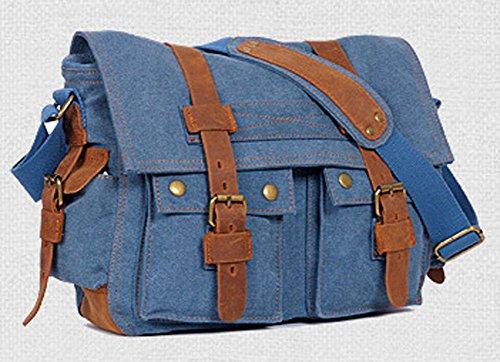 Satchel Escuela Mochila Hombres Mujeres Vintage Canvas Backpack Senderismo Bolsa Casual Bolsa de viaje Bookbag Ipad Bolsa (blue, 36*12*28cm) Blue